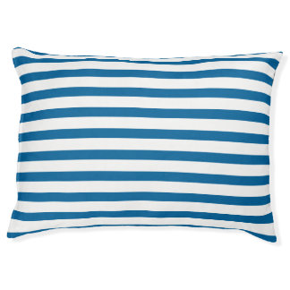 Blue and White Horizontal Stripe Dog Bed
