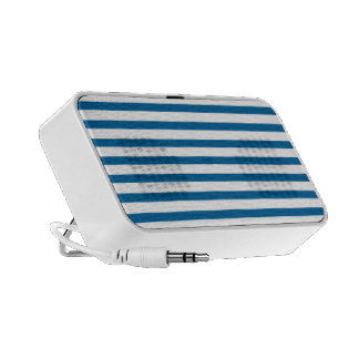 Blue and White Horizontal Stripe Notebook Speakers