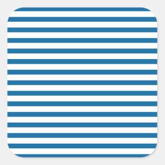 Blue and White Horizontal Stripe Square Stickers