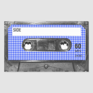 Blue and White Houndstooth Label Cassette