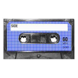 Blue and White Houndstooth Label Cassette Business Cards