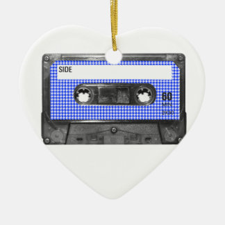 Blue and White Houndstooth Label Cassette Christmas Tree Ornaments