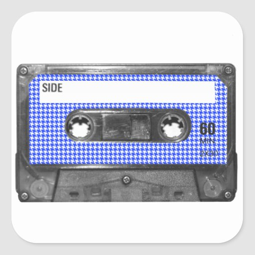 Blue and White Houndstooth Label Cassette Square Sticker