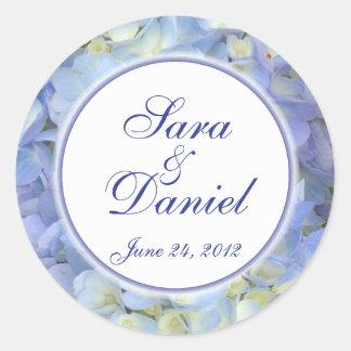 Blue and White Hydrangea Wedding Favor Label Classic Round Sticker
