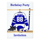Blue and White Ice Hockey Jersey Birthday Party Card