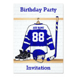 Blue and White Ice Hockey Jersey Birthday Party 13 Cm X 18 Cm Invitation Card