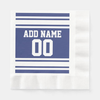 Blue and White Jersey Stripes Custom Name Number Paper Napkins