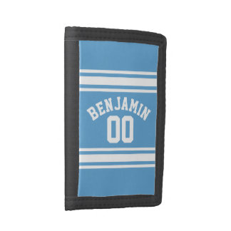 Blue and White Jersey Stripes Custom Name Number Trifold Wallet