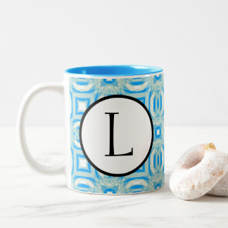 Blue and White Kaleidoscope Pattern Mug