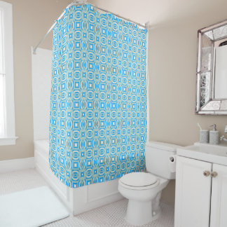 Blue and White Kaleidoscope Pattern Shower Curtain