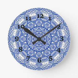 Blue And White Kaleidoscope Round Clock