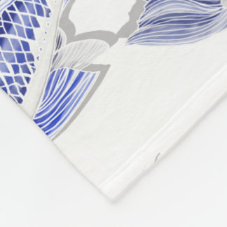 Blue and white Koi Fleece Blanket