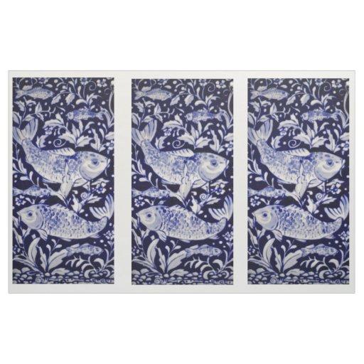 Blue and White Koi Pond Tile Design Fabric