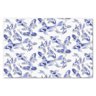 Blue and white Koi Tissue Paper