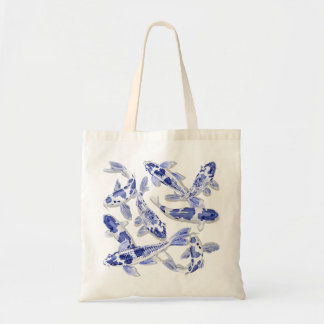 Blue and white Koi Tote Bag