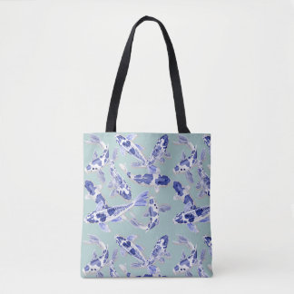 Blue and white Koi Tote Bag