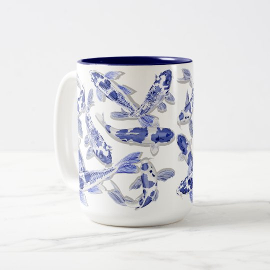 Blue and white Koi Two-Tone Coffee Mug
