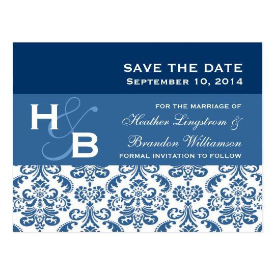 Blue and White Lace Damask Save The Date V007 Postcard
