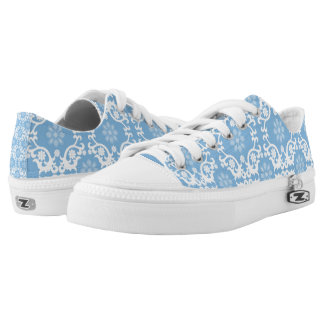 Blue And White Lace Printed Shoes
