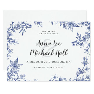 Blue and White Leaves Wedding Save the Date Card
