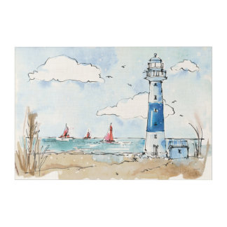 Blue and White Lighthouse Acrylic Print