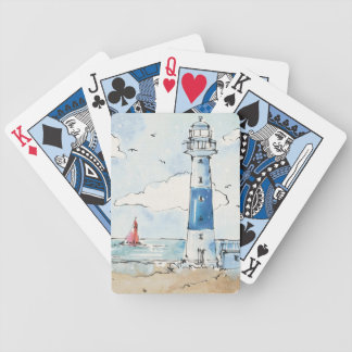 Blue and White Lighthouse Bicycle Playing Cards