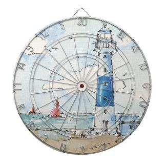 Blue and White Lighthouse Dartboard