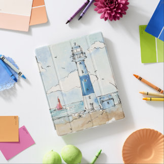 Blue and White Lighthouse iPad Cover