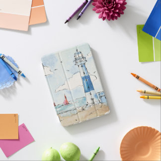 Blue and White Lighthouse iPad Mini Cover