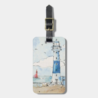 Blue and White Lighthouse Luggage Tag