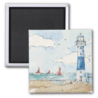 Blue and White Lighthouse Magnet