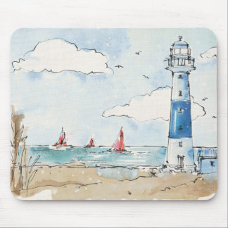 Blue and White Lighthouse Mouse Mat