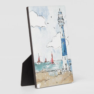 Blue and White Lighthouse Plaque