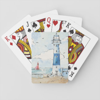 Blue and White Lighthouse Playing Cards