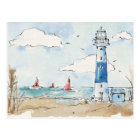 Blue and White Lighthouse Postcard