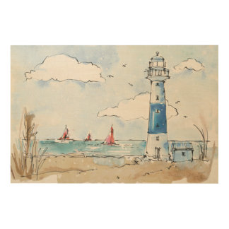 Blue and White Lighthouse Wood Wall Decor