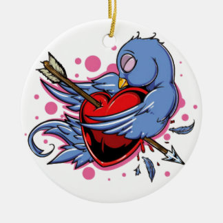 blue and white love bird christmas ornament