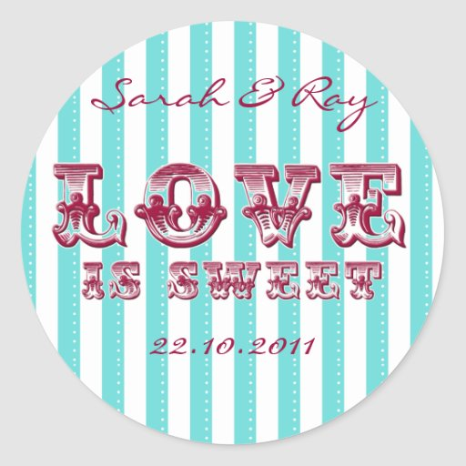 Blue and white 'love is sweet' sticker