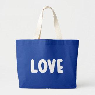 Blue And White Love - Wedding, Bridal Shower Jumbo Tote Bag