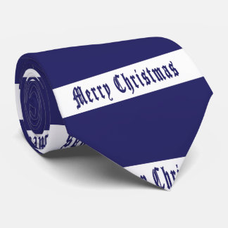 Blue and White Men's Christmas Tie