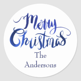 Blue and White Merry Christmas Envelope Seals
