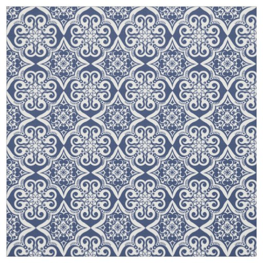 Blue and White Mexican Tile Pattern Fabric
