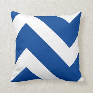 Blue and White Modern Chevron Geometric Cushion