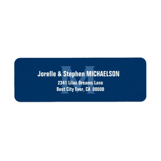 Blue and White Modern Monogram S307 Return Address Label