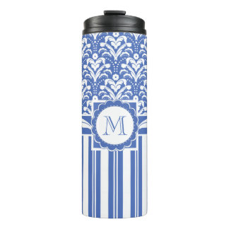 Blue and White Monogram Floral Damask Thermal Tumbler