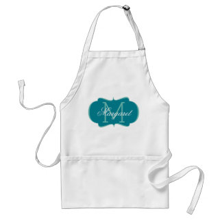 Blue and White Monogram Standard Apron