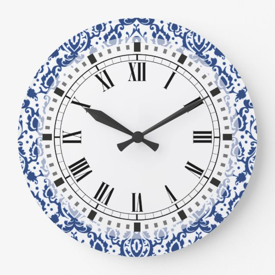 Blue and White Moroccan Casbah Damask Clock