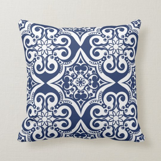 Blue and White Moroccan Pattern Cushion