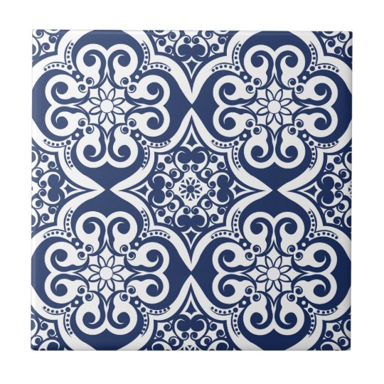 Blue And White Moroccan Pattern Tile Zazzle Co Uk