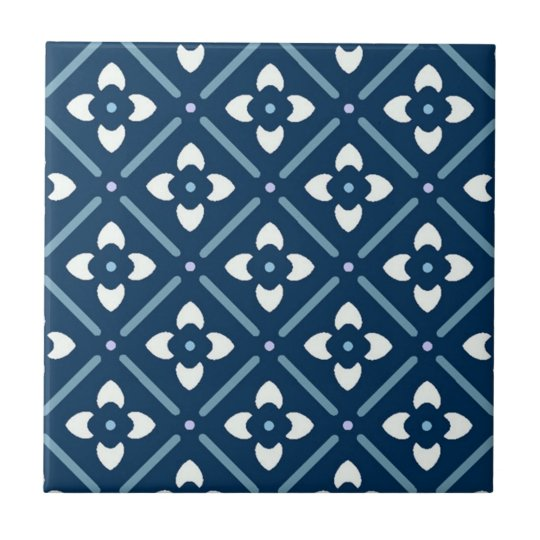 Blue and White Moroccan Patterned Tile
